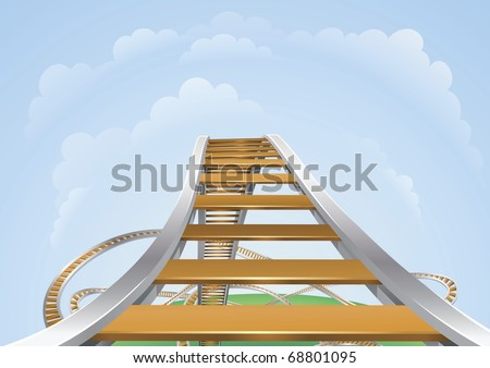 Illustration of a roller coaster from the highest view. Conceptual highs and lows or fear and trepidation.