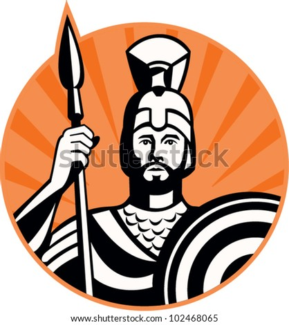 Illustration of a roman centurion soldier fighting with spear and shield done in retro woodcut style set inside circle.