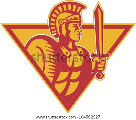 Illustration of a roman centurion soldier fighting with sword and shield done in retro woodcut style set inside triangle.