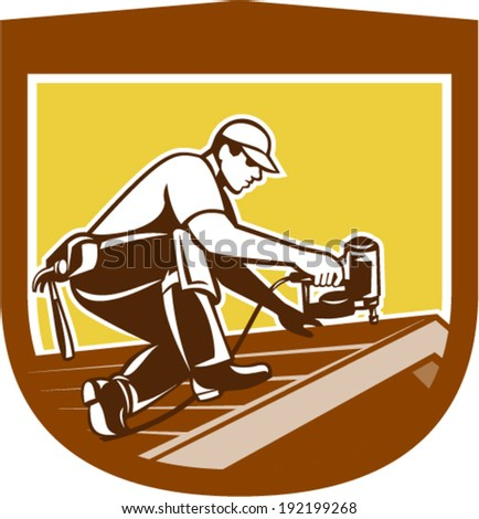 Illustration Of A Roofer Construction Worker Roofing