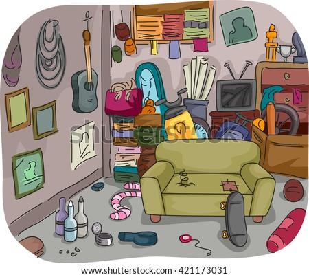 illustration of a room full of