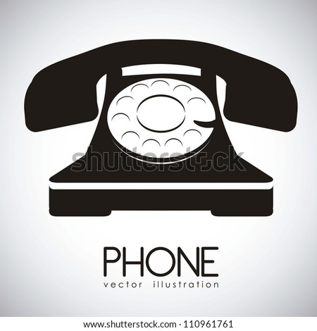 illustration of a rotary phone, black color, vector illustration