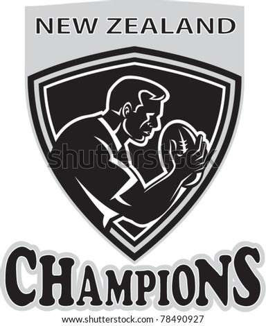 illustration of a rugby player with ball set inside shield done in retro style with words New Zealand Champions