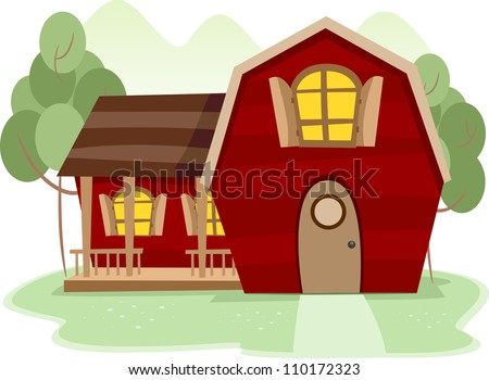 Illustration of a Rural Scence Featuring a Red Barnhouse