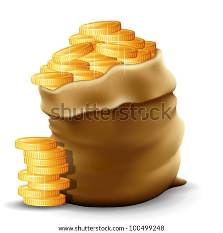Illustration of a sack with full gold coins in it. Contain  transparencies & gradient meshes. Transparent shadows placed on layer beneath.