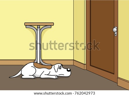Illustration of a sad dog with longing waiting for his owner to get home. Item for institutional and veterinary materials