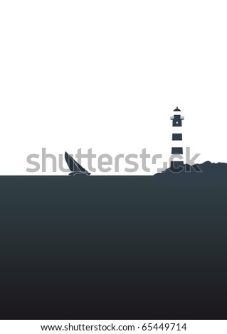 Illustration of a sailing boat and a lighthouse