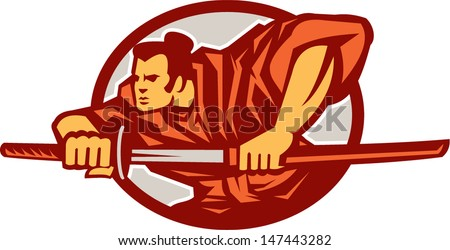 Illustration of a Samurai warrior drawing katana sword in fighting stance set inside oval done in retro style