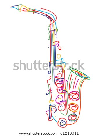 Illustration of a saxophone over white
