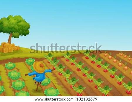 illustration of a scarecrow in a vegetable patch
