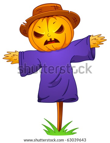 Illustration of a Scarecrow with a Jack o Lantern Head