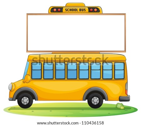 illustration of a school bus and board on road - stock vector