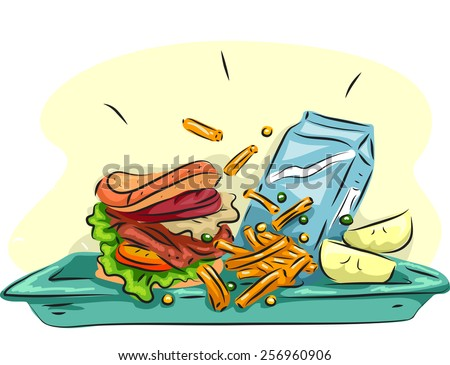 illustration of a school lunch