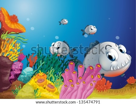 Illustration of a school of scary gray fishes #135474791