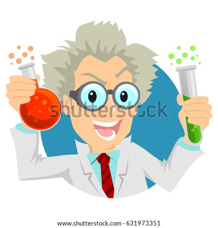 Illustration of a Scientist Holding two Test tubes