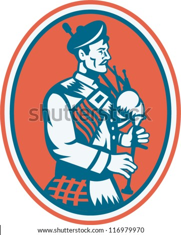 Illustration of a scotsman scottish playing the bagpipes viewed from side set inside oval done in retro style. Сток-фото ©