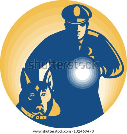 Illustration of a security guard policeman with police guard dog and flashlight facing front set inside circle done in retro style.