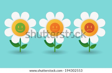 Illustration of a set of daisy icons