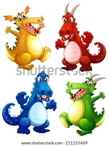 illustration of a set of dragons
