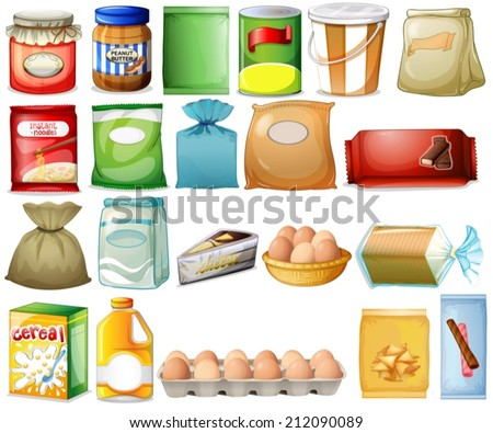 illustration of a set of foods
