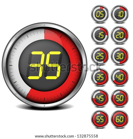 illustration of a set of metal framed timers with easy changeable numbers, eps10 vector
