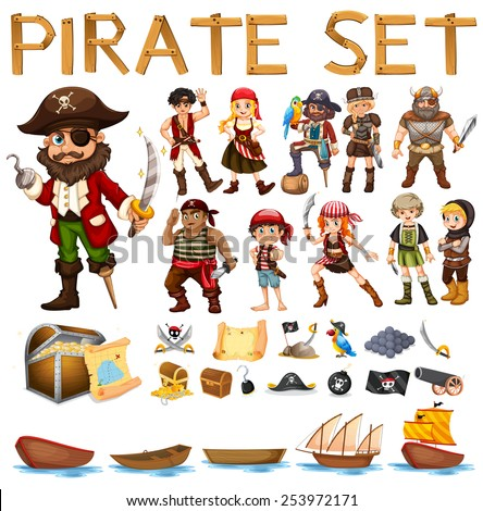 illustration of a set of pirate