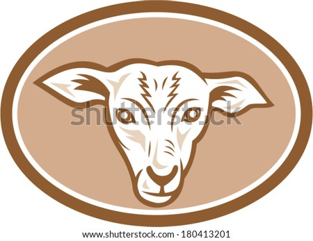 Illustration Of A Sheep Lamb Head Facing Front Set Inside Oval Done In Cartoon Style On