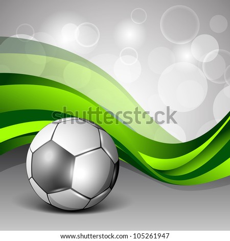 Illustration of a shiny soccer football on creative abstract green wave background. EPS 10.