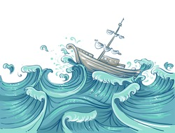 Illustration of a Ship Being Tossed About by Giant Waves