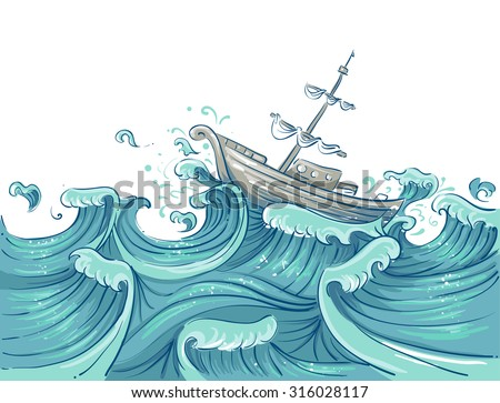 illustration of a ship being