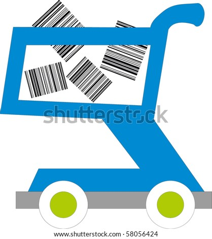 illustration of a shopping cart with barcodes inside