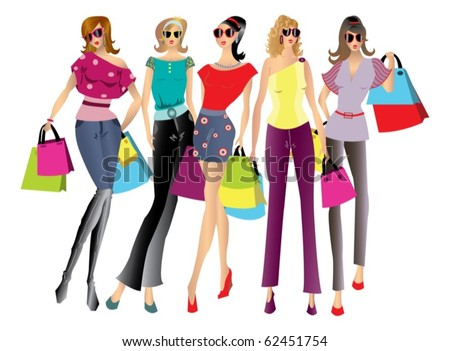 Illustration of a shopping women with bags - isolated over white