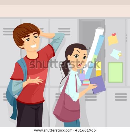 illustration of a shy teenage