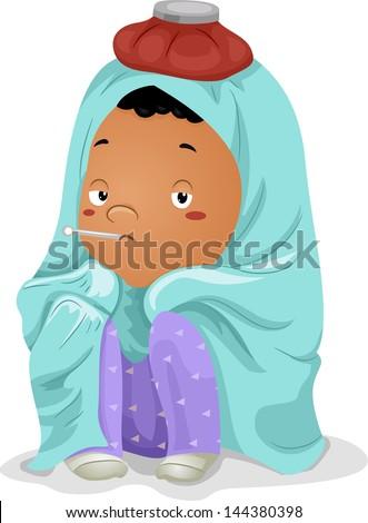 illustration of a sick little