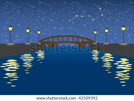 Illustration of a silent night river scene with sky full of stars.