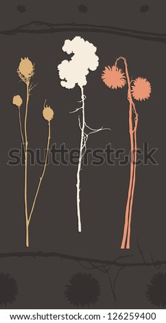 Illustration of a Silhouette shapes of dried flowers with plant elements.