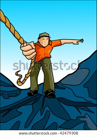 Illustration of a silhouettes climbing through mountain