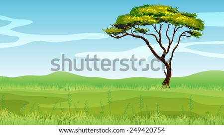 Illustration of a single tree on the green field