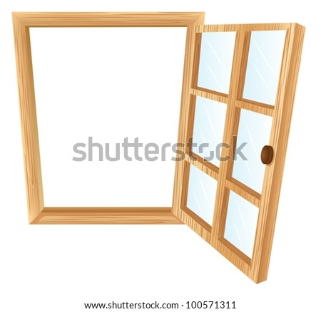 Illustration of a single window frame in wood