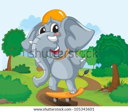 Illustration of a skateboarding elephant