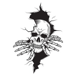 Illustration of a skull tearing out of the wall. Skeleton breaking through wall. Human skull  through the hole. Halloween decor.