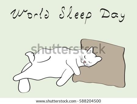 illustration of a sleeping cat