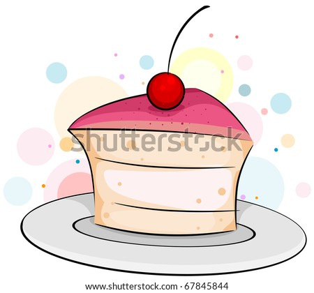 Illustration of a Slice of Cake with a Cherry on Top
