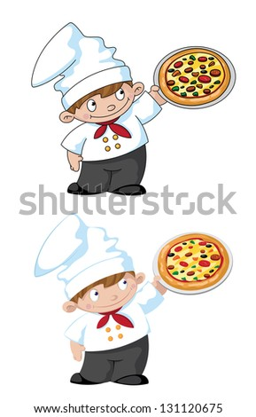 illustration of a small cook with pizza