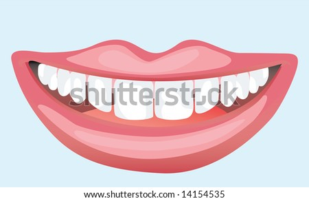 illustration of a smiley mouth pink show the teeths