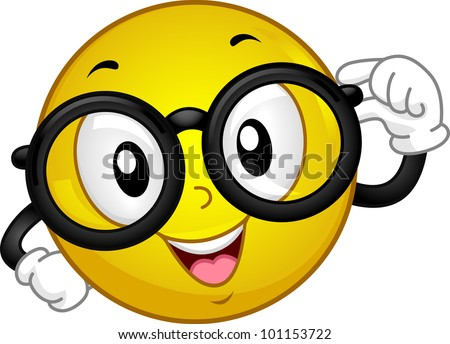 Smart smiley face with glasses illustration of a smiley