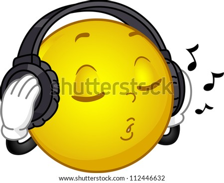 Illustration of a Smiley Wearing Headphones Singing Along to a Song