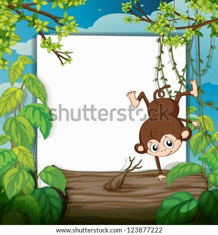 Illustration of a smiling monkey and a white board in a beautiful nature