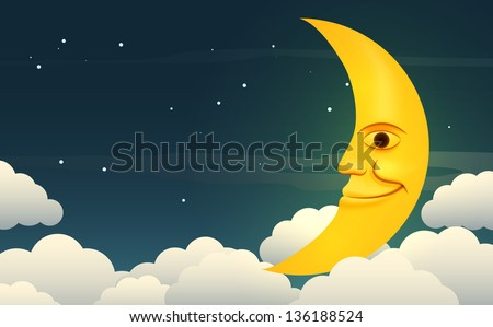 illustration of a smiling moon
