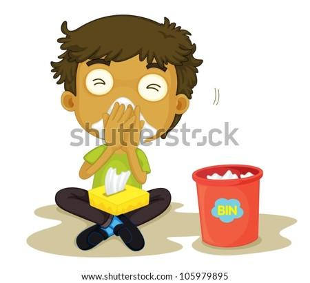 illustration of a snizzing boy on a white background